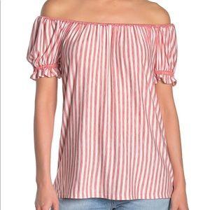 max studio • off the shoulder knit striped top